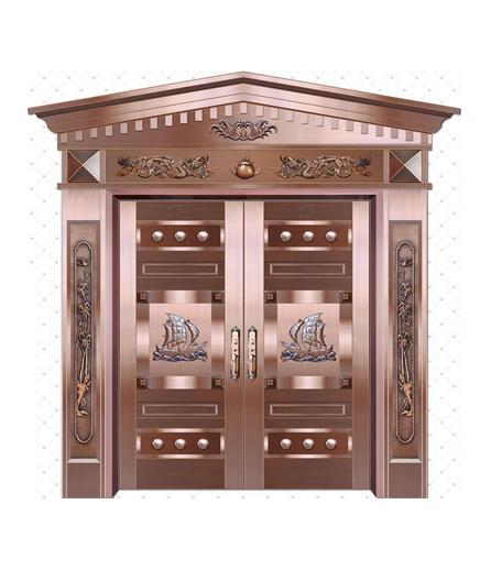 别墅铜门双开门设计