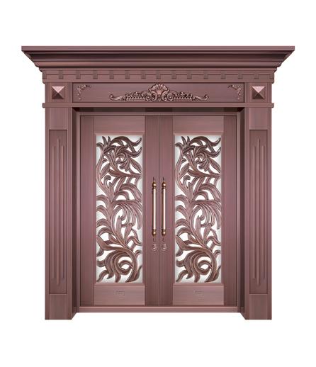 别墅铜门 玻璃门生产